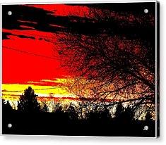 Montana January Sunset Acrylic Print by Aliceann Carlton