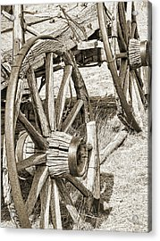 Montana Old Wagon Wheels In Sepia Acrylic Print by Jennie Marie Schell