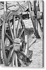 Montana Old Wagon Wheels Monochrome Acrylic Print by Jennie Marie Schell