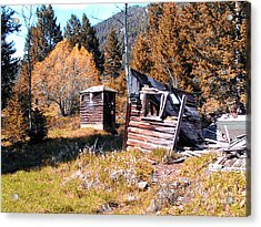 Montana Outhouse 01 Acrylic Print by Thomas Woolworth