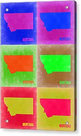 Montana Pop Art Map 2 Acrylic Print by Naxart Studio