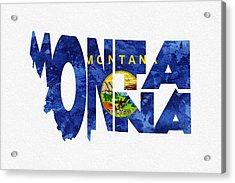 Montana Typographic Map Flag Acrylic Print