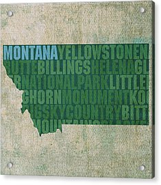 Montana Word Art State Map On Canvas Acrylic Print by Design Turnpike