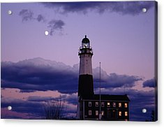 Montauk Lighthouse With Moon Acrylic Print