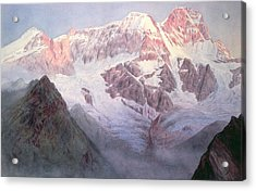 Monte Rosa At Sunrise From Above Alagna Acrylic Print by Alfred Gibson William