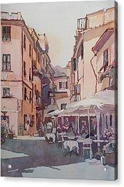 Monterosso Cafe Acrylic Print by Jenny Armitage