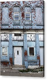 Montezuma Iowa - Blue Brick Building Acrylic Print by Gregory Dyer