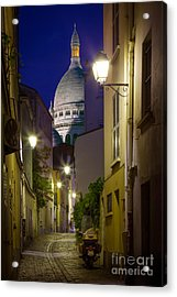 Montmartre Street And Sacre Coeur Acrylic Print