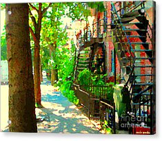 Montreal Art Colorful Winding Staircase Scenes Tree Lined Streets Of Verdun Art By Carole Spandau Acrylic Print by Carole Spandau