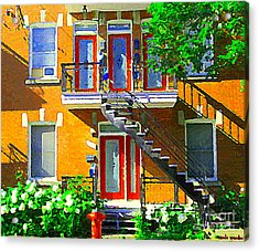 Montreal Art Seeing Red Verdun Wooden Doors And Fire Hydrant Triplex City Scene Carole Spandau Acrylic Print by Carole Spandau