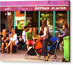 Montreal Art Work Bilboquet Cafe Scene Moms And Baby Carriages  In  Outremont By Carole Spandau Acrylic Print by Carole Spandau