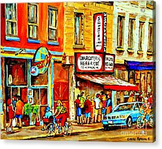 Montreal Bike Path Reserved Lane Cyclists Drive By Schwartzs Deli  Line-up Montreal Paintings Acrylic Print by Carole Spandau