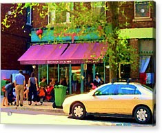 Montreal Cafe Scenes Beautiful Bilboquet On Bernard Creme Glacee Summer City Scene Carole Spandau  Acrylic Print by Carole Spandau