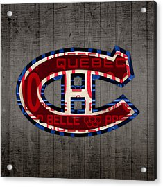 Montreal Canadiens Hockey Team Retro Logo Vintage Recycled Quebec Canada License Plate Art Acrylic Print