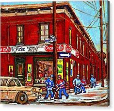 Montreal Depanneur Epicerie Boucherie Coca Cola South West Montreal Winter Pantings Hockey Art  Acrylic Print by Carole Spandau