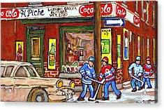 Montreal Hockey Paintings At The Corner Depanneur - Piche's Grocery Goosevillage Psc Griffintown  Acrylic Print by Carole Spandau