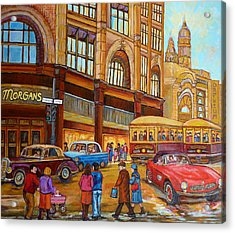 Montreal Memories-streetcars-morgan's Department Store At St.catherine And Union Acrylic Print by Carole Spandau