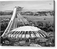 Montreal Olympic Stadium And Olympic Park-home To Biodome And Velodrome-montreal In Black And White Acrylic Print
