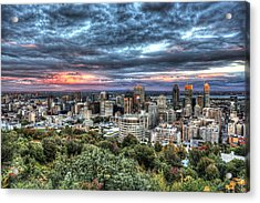 Montreal Skyline Sunset From Mount Royal Acrylic Print by Shawn Everhart
