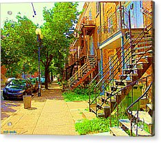 Montreal Stairs Winding Staircases And Sunny Tree Lined Sidewalks Verdun Scenes Carole Spandau  Acrylic Print by Carole Spandau