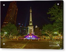 Monument Circle Indianapolis Digital Oil Paint Acrylic Print by David Haskett