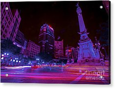 Monument Circle Indianapolis Light Streaks Night Acrylic Print by David Haskett
