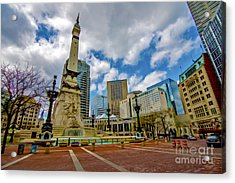 Monument Circle Indianapolis Wide Acrylic Print by David Haskett