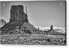 Acrylic Print featuring the photograph Monument Valley 3 Bw by Ron White