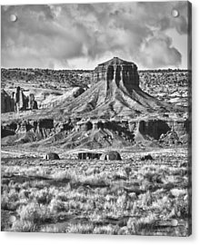 Acrylic Print featuring the photograph Monument Valley 7 Bw by Ron White