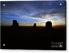 Monument Valley Desert Sunrise And Butte Silhouettes Accented Edges Digital Art Acrylic Print