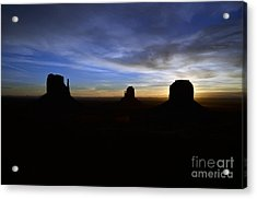 Monument Valley Desert Sunrise And Butte Silhouettes Acrylic Print by Shawn O'Brien