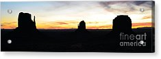 Monument Valley Morning Twilight And Butte Silhouettes Panoramic Acrylic Print by Shawn O'Brien