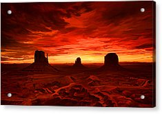 Acrylic Print featuring the painting Monument Valley Sunset by Tim Gilliland