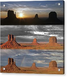 Monument Valley Triptych Acrylic Print by Patrick Jacquet