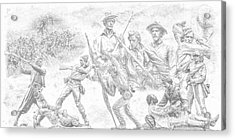 Monuments On The Gettysburg Battlefield Sketch Acrylic Print