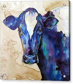 Acrylic Print featuring the painting Moo by Christy  Freeman