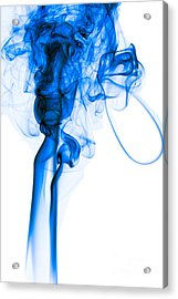 Mood Colored Abstract Vertical Deep Blue Smoke Art 01 Acrylic Print by Alexandra K