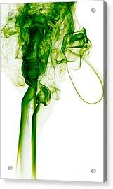 Abstract Vertical Green Mood Colored Smoke Wall Art 03 Acrylic Print