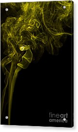 Mood Colored Abstract Vertical Yellow Smoke Wall Art 03 Acrylic Print by Alexandra K