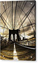 Moody Brooklyn Bridge Acrylic Print by Chris Halford