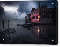 Moody Evening At Garda's Lake Acrylic Print