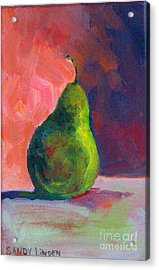 Acrylic Print featuring the painting Moody Pear by Sandy Linden
