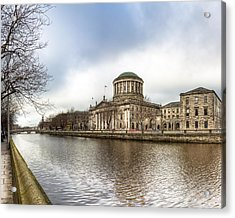 Moody Winter Day On Inns Quay In Dublin Acrylic Print by Mark E Tisdale