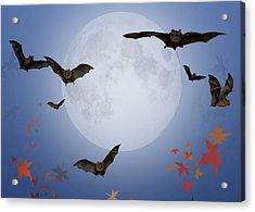 Moon And Bats Acrylic Print by Melissa A Benson