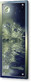 Moon And Dandelion Reflection With Sparkling Stars Acrylic Print by Peter v Quenter