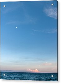 Moon And Pink Cloud Acrylic Print by Michelle Wiarda