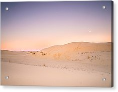 Moon And Sand Dune In Twilight Acrylic Print by Ellie Teramoto