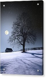 Acrylic Print featuring the photograph Moon And Snow by Larry Landolfi