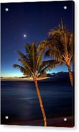 Moon And Stars In The Night Sky Acrylic Print by Scott Mead