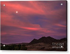 Moon And Sunrise Acrylic Print by Robert Bales